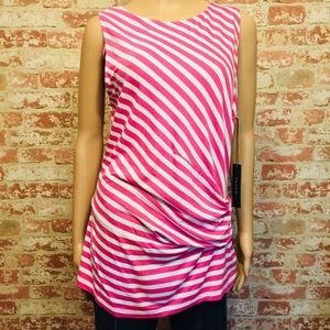 NWT Tahari Pink Striped Tank